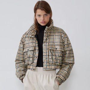 Zara cropped plaid bomber jacket NWT